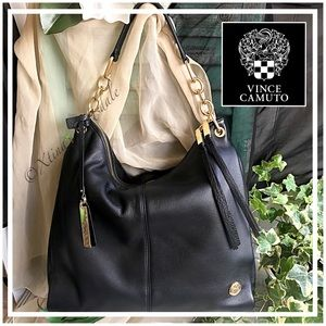 🆕VINCE CAMUTO Black Leather Chain Handle Hobo